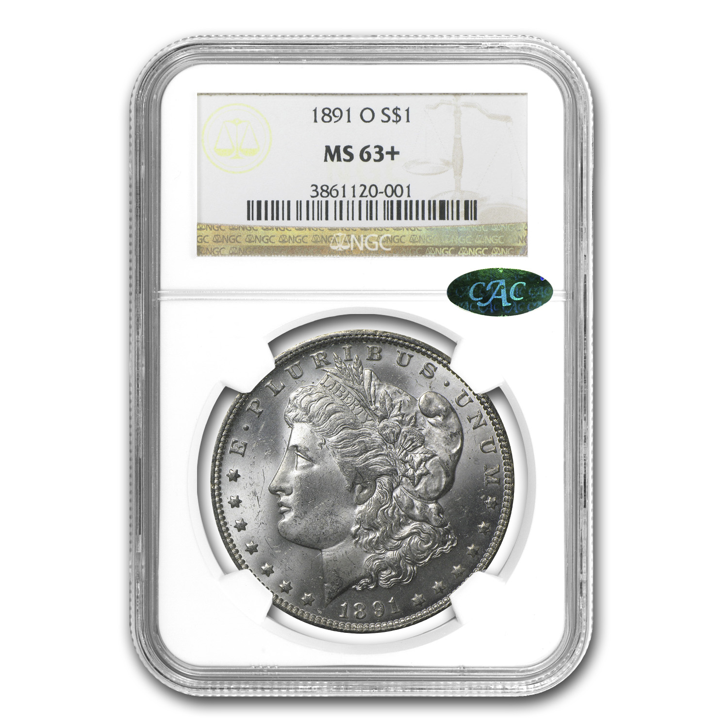 1891-O Morgan Dollar - MS-63+ Plus NGC - CAC